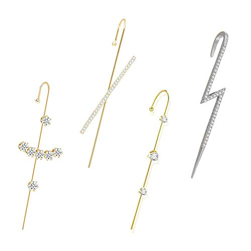 JPYH 4pcs Ear Wrap Crawler Hook Earrings Geometric Stud Earrings,Pendientes con Forma de Rayo Creativo Larga Earrings para San Valentín Regalo Mujeres y Niñas