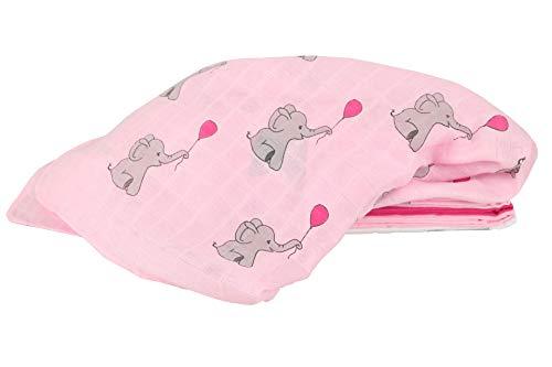 lia Mullwindeln 4er Pack/Spucktücher / 80x80cm Moltontücher aus 100% Baumwolle/doppelt gewebt/schadstoffgeprüft Ökotex Standard 100 (Pink)