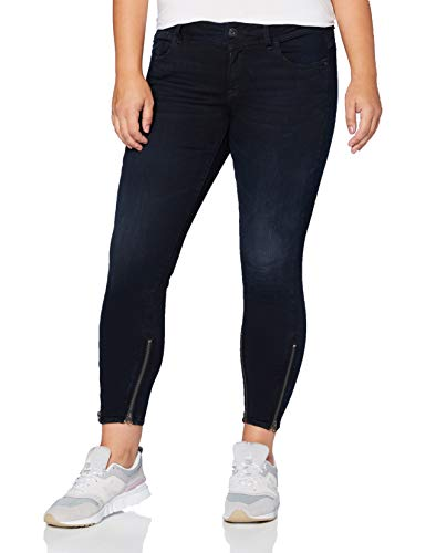 G-STAR RAW Damen Lynn 2-Zip Mid Waist Ankle Skinny Jeans, Blau (Worn In Night Destroyed 8971-B187), W28/L32 (Herstellergröße: 28W/ 32L)