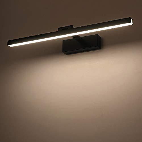 Yafido Aplique Espejo Baño Interior LED 12W Blanco Neutro 4000K 1000LM 50CM Negro luz Baño Lámpara para Maquillaje