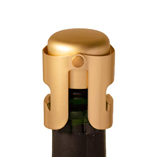 Gold Champagne Stopper, Designed in France, Bottle Sealer for Cava, Prosecco, Sparkling Wine, Gold Plated, No Sharp Edge, Simple Design, No Leaks, No Spills, Fizz Saver, Passed 13 lbs Pressure Test