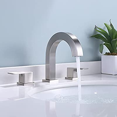 KES 3 Hole Bathroom Faucet Brushed Nickel Widespread Bathroom Faucet 8 Inches cUPC Certified Brass Bathroom Sink Faucet with Supply Hoses, L4318LF-BN