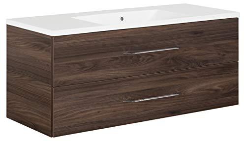 FACKELMANN Waschtischunterschrank inkl. Gussbecken B.CLEVER/Badschrank mit Soft-Close-System/Maße (B x H x T): ca. 120 x 48,5 x 46 cm/Möbel fürs Badezimmer/Schrank: Braun dunkel/Becken: Weiß