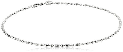 Amazon Collection Italian Sterling Silver Rhodium Plated Diamond Cut Oval and Round Beads Mezzaluna Chain Ankle Bracelet, 9'