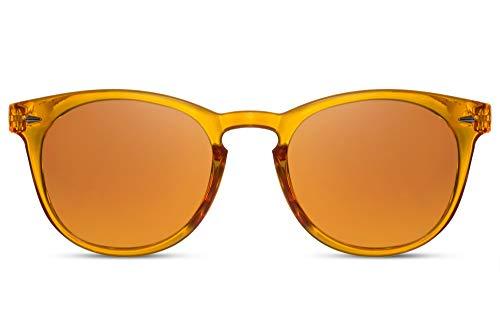 Cheapass Sonnenbrille Rund Orange-Transparent Verspiegelt UV-400 Festival-Brille Hipster Plastik Damen Herren