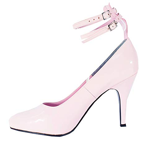 Rose 2 sangles Sandales Talon en PVC haute cour Pompe à chaussures Transvestite UK 8 9 10 11 - Blanc - blanc,