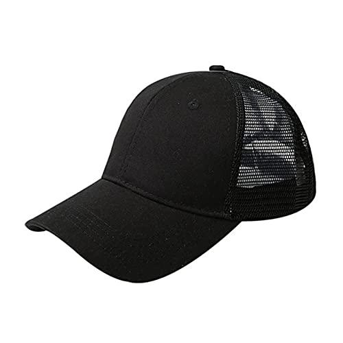 UKKD Gorra De Béisbol Cola De Caballo Gorra De Béisbol Mujer Snapback Verano Malla Sombrero Femenino Moda Hip Hop Hats Casual Al Aire Libre-Net Hat Cotton Black,1