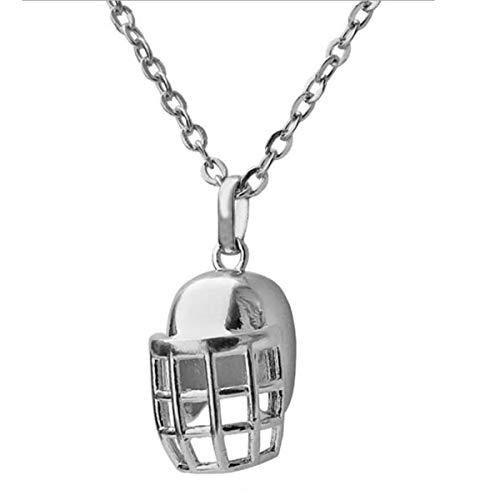 ANLW NFL Halsketten-Anhänger Kupfer-Football-Helm Hip Hop Punk Anhänger Halskette Boyfriend Geschenk des Halloween,Silber