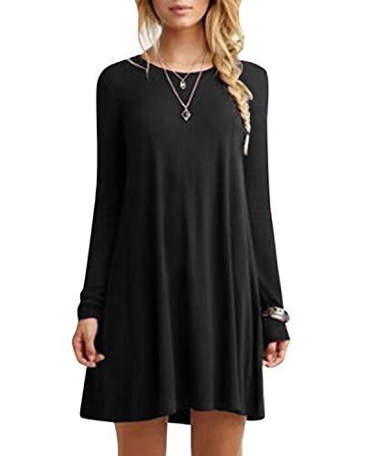 YOINS Damen Kleider Tunika Tshirt Kleid Langarm MiniKleid Winterkleid für Damen Brautkleid Maxikleid Rundhals