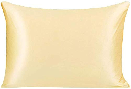 Funda de Almohada de Seda con Ambos Lados 25 Momme Pure Silk Transpirable Cuidado para la Piel y el Cabello Funda de Almohada de Seda con Cremallera oculta-50x90cm / Rey_Amarillo