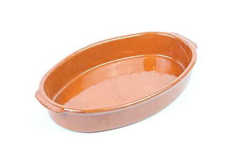 ARTESANIAROCA Cazuela ovala de Barro refrectario. Ideal para el Horno. Made in Spain. 36,2 cm Largo x 23 cm Ancho x 6cm Alto