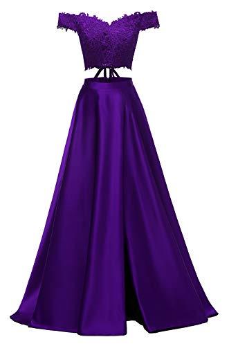 yinyyinhs Damen Zwei Stücke Spitze Satin Abendkleider von der Schulter geschnitten Lange Formale Abendkleider Violett Größe 48