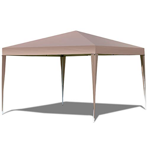 TANGKULA Outdoor Tent 10'X10' EZ Pop Up Portable Lightweight Height Adjustable Study Instant All Weather Resitant Event Party Wedding Park Canopy Gazebo Shelter Tent with Carry Bag