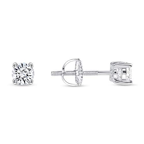 925 Sterling Silver Round Solitaire Cz Screw Back Stud Earrings Rhodium Plated (4mm Screwback Stud)
