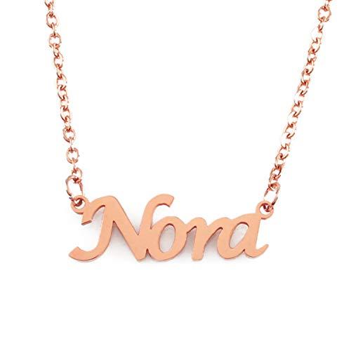 KL Kigu Nora Roségold Namenskette Personalisiert Damen Halskette Mit Namen Fashion Schmuck Geschenk Fur Freundin Mutter Schwester