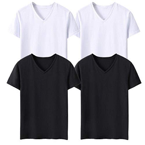 Camiseta Deporte Hombre Camisetas para Hombre Multipack Camiseta De Algodón De Color Sólido Camisetas con Cuello En V Camiseta Blanca Negra para Niños Paquete De 3 (S-5Xl)-Grupo-4_4XL