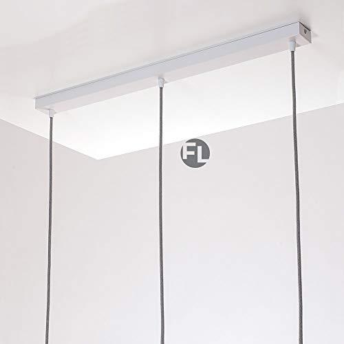 Flairlux Baldachin rechteckig Lampe 3 flammig weiß Metall Lampenbaldachin rechteckig zum Bau von Deckenleuchten | Lampe für Esstisch | Lampenaufhängung Lampenzubehör DIY | L 70 x B 5 x H 2,5