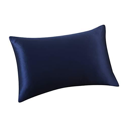 ALASKA BEAR - Natural Silk Pillowcase, Hypoallergenic, 19 Momme, 600 Thread Count 100 Percent Mulberry Silk, Queen Size with Hidden Zipper(1, Navy Blue)