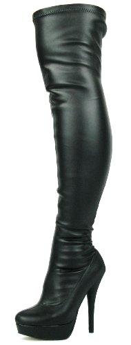 DOK136 Frauen Stilett über das Knie Strecken breite Passform Schwarze Overknee Stiefel Schuhe Größe 36 37 38 39 40 41 (38, Schwarzem Kunstleder Stretch)