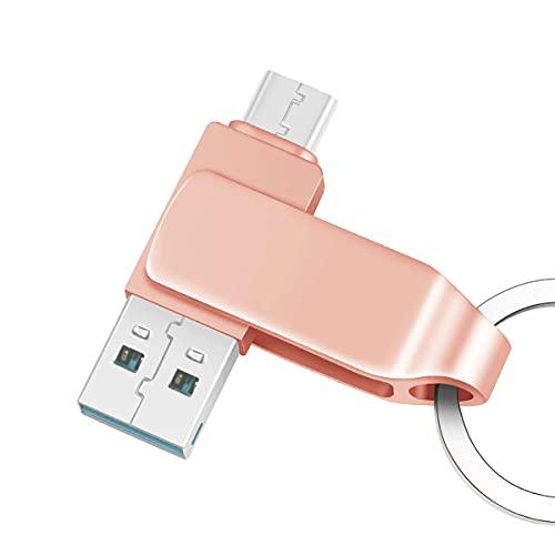 OTG Flash Drive para teléfonos Android, metal duradero 2 en 1 Memory Stick Pendrive (USB 3.1/Tipo-C), almacenamiento externo para ordenadores portátiles/PC/Mac (64 GB, rosa)