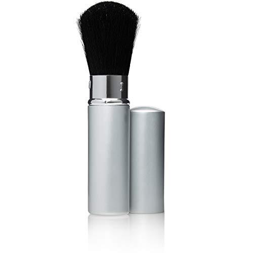 Puderpinsel einschiebbar mit Kappe, Professioneller Makeup Pinsel, feinstes Naturhaar, Schminkpinsel Silber, Höhe: 12cm von Fantasia