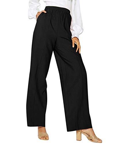 CNFIO Pantalon Large Femme Pantalon Femmes Taille Haute Pantalons Fluide Chic Femme Pantalon Droit Decoration avec Ceinture, D-noir, M
