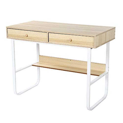 N/Z Home Equipment Office Desk Desktop Computer Desk PC Laptop Table Study Writing Table Simple Workstation with 2 Drawers Storage Rack Writing Computer Desk