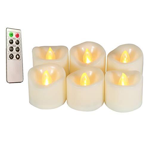 Erosway Teelichter LED realistisch Flackernde Flammenlose LED Kerzen mit Fernbedienung, 4/8 Timer, 300 Stunden Nonstop Leuchten geliefert 6 Stück/Paket