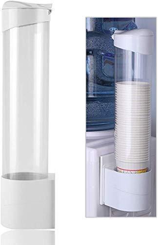 JYZ Dispensador de Vasos de Papel desechable, portavasos de Papel montado en la Pared, Estante de Almacenamiento de Vasos de Polvo Transparente, para Enfriador de Agua de café de Oficina