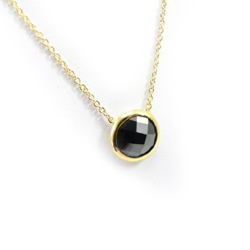 Necklace-plated gold 'Linda' black.