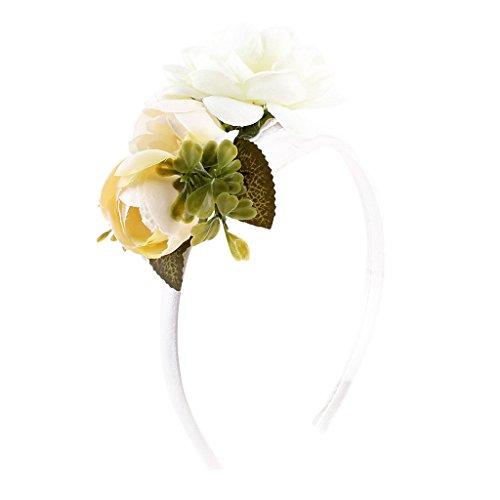 Corona Floreale Per La Ghirlanda Delle Rose Hawaiana Elasticizzata Per Le Donne - Bianca