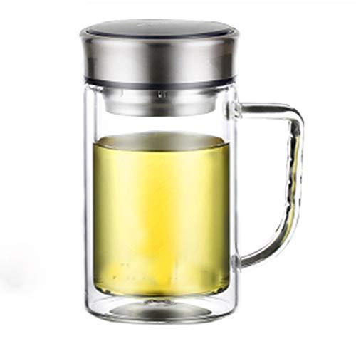 Glazen waterkaraf, borosilicaat-waterkan met roestvrij stalen deksel, dubbelwandige glazen reisbeker met afneembare roestvrijstalen opgiet. 17cm*8.5cm