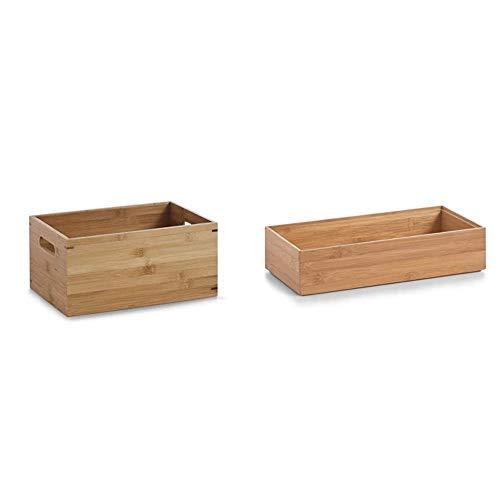 Zeller 13340 Aufbewahrungskiste, Bamboo, ca. 30 x 20 x 14 cm & 13333 Ordnungsbox 30 x 15 x 7 cm, Bamboo