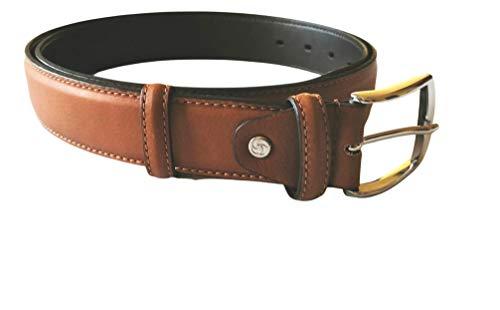 Samsonite, Cinturón de hombre de auténtica piel napa con hebilla de metal cromado, altura 3,5 cm, color cuero, acortable, fabricado en Italia