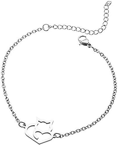 NONGYEYH co.,ltd Collar Collar Pulsera Mujer S Pulsera Acero Inoxidable Hueco Big Tail Fox Pulsera