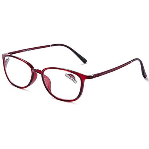 LGQ Gafas de Lectura, multifocales, de Doble propósito lejano y cercano, radiación de Ondas Anti-electromagnéticas, alivian la Fatiga Dioptría de 1,00 a 3,00,Rojo,+2.00