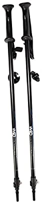 """WSD Ski Poles Telescopic Adjustable Adult Downhill/Alpine Collapsible Pair with Baskets, Black New, 115 cm - 135 cm (45""""-53"""")"""