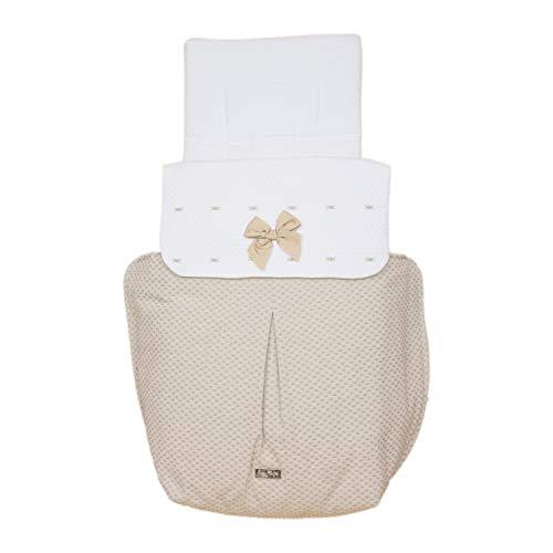 Saco para Capazo Rosy Fuentes - Saco para Bebé Universal - Bonito Diseño - Resistente y Duradero - Elaborado en Piqué jacquard - Color camel