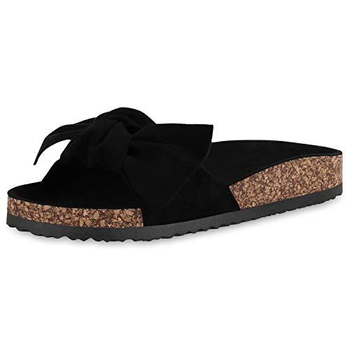 SCARPE VITA Damen Sandalen Pantoletten Bequeme Schuhe Schleife Sommer Hausschuhe Flats Korkoptik Sommerschuhe Schlappen Strandschuhe 182787 Schwarz Black Braun 37