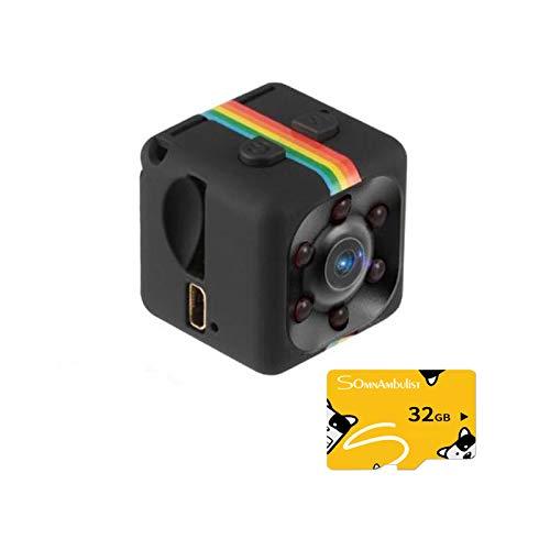 YOOXI SQ11 Mini-Kamera, Überwachungskamera für Drohnen, Heim- und Büroüberwachung Cop Cam, 1080P HD-Videorecorder tragbar winzig mit Nachtsicht und Bewegungserkennung, Schwarz