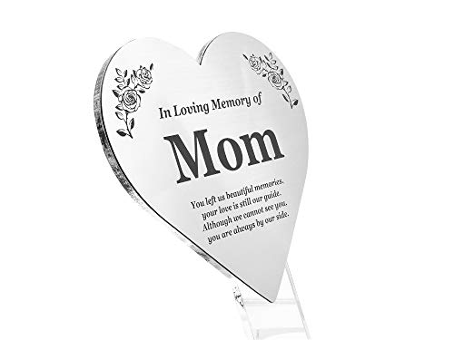 mom plaques OriginDesigned MOM Floating Heart Memorial Remembrance Plaque Stake - Metallic Silver