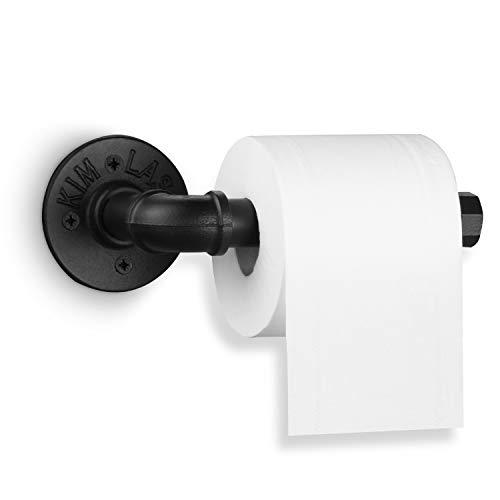 Elibbren Vintage Toilettenpapierhalter, strapazierfähig, DIY Industrie, rustikale Eisenrolle, Handtuchhalter mit Hardware für Badezimmer, Küche, Schlafzimmer, Flur, Schwarz galvanisiert, 1 Packung