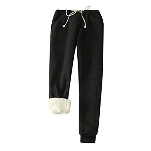Qiuday Damen Winter Schlafanzughose Plus Size Dick Damenhose Warm Lang Pyjama Hose beiläufige Fleece Freizeithose Thermohose Winterhose weich Freizeithosen mit Fleecefutter Jogginghose