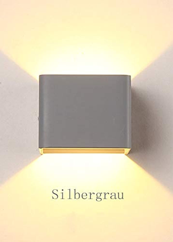LED Wandleuchte Modern Eckig Design Wandlampe Wohnzimmer Esszimmer Schlafzimmer Arbeitszimmer Landhaus Küche Flur Kinderzimmer Leuchte Wand Beleuchtung Metall Lampe Warm Licht 7W (Silbergrau)