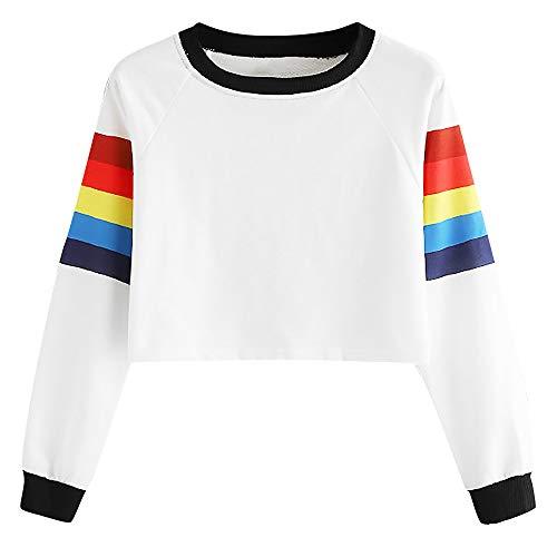 TWIFER Frauen Langarm Bunter Regenbogen Oansatz Sweatshirt Mädchen Crop Pullover
