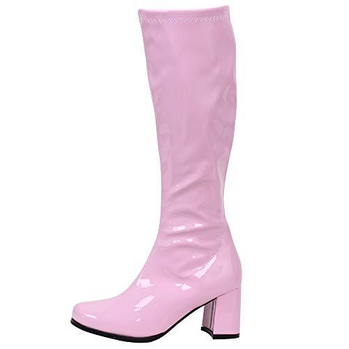 Gogo Stiefel für Frauen, kniehohe Stiefel, PU Leder Reißverschluss Damen Party Tanzschuhe, Pink (Rosa glänzend), 45 EU