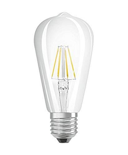 Osram LED Star Classic Edison Lampe, in Edison Form mit E27-Sockel, nicht dimmbar, Ersetzt 60 Watt, Filamentstil Klar, Warmweiß - 2700 Kelvin, 1er-Pack