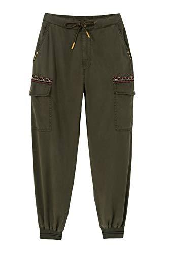 Desigual Pant_Tribeca Pantalones Informales, Verde, M para Mujer