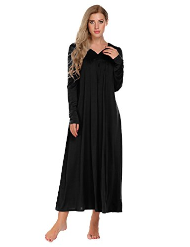 Ekouaer Long Sleeve Victorian Nightgown Sexy Sleepwear Maxi Dress for Women (S-XXL)