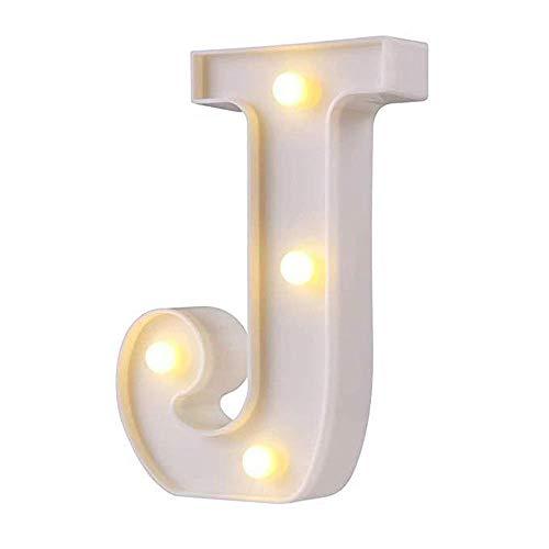 Inglés letra luz LED luz nocturna Tanabata Festival regalo ceremonia de boda lámpara de pared símbolo de estilo romántico lámpara de modelado, letra J-luz blanca cálida, 0.5